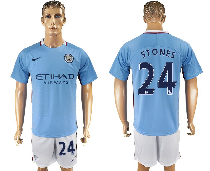 Men 2017-2018 club Manchester city home 24 blue soccer jersey