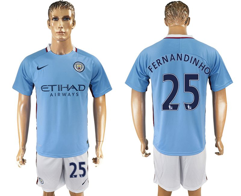 Men 2017-2018 club Manchester city home 25 blue soccer jersey