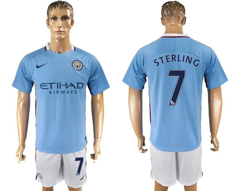 Men 2017-2018 club Manchester city home 7 blue soccer jersey