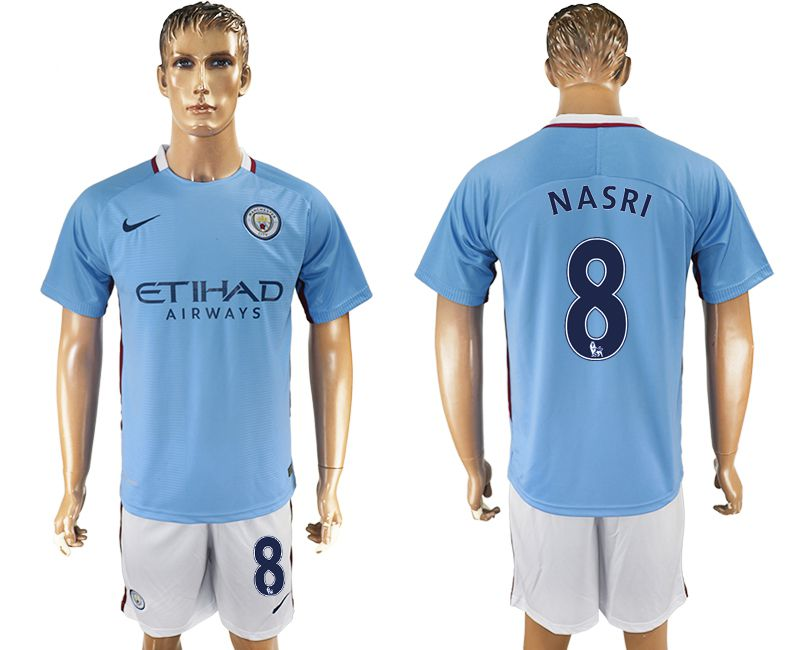 Men 2017-2018 club Manchester city home 8 blue soccer jersey