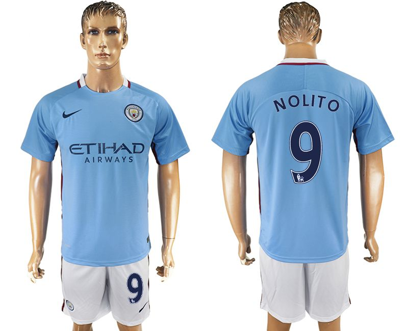 Men 2017-2018 club Manchester city home 9 blue soccer jersey