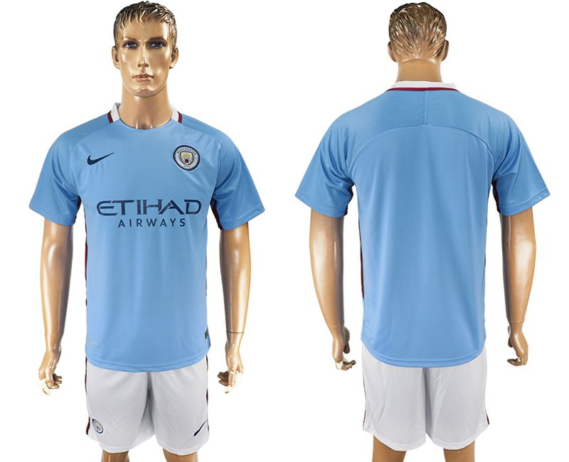 Men 2017-2018 club Manchester city home blank blue soccer jersey