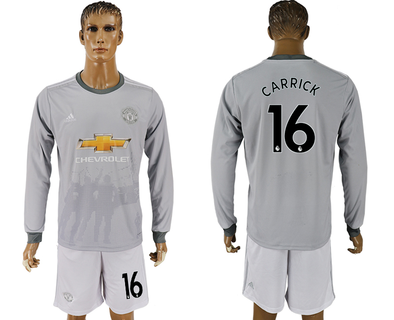 Men 2017-2018 club Manchester united away long sleeve grey 16 soccer jersey