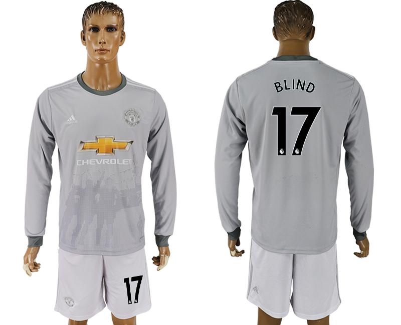 Men 2017-2018 club Manchester united away long sleeve grey 17 soccer jersey