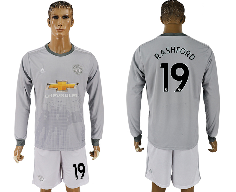 Men 2017-2018 club Manchester united away long sleeve grey 19 soccer jersey