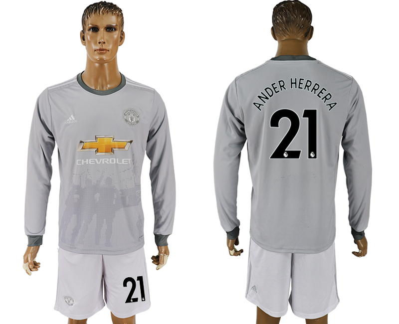 Men 2017-2018 club Manchester united away long sleeve grey 21 soccer jersey