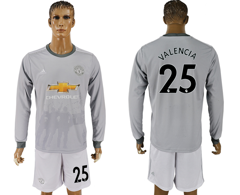 Men 2017-2018 club Manchester united away long sleeve grey 25 soccer jersey