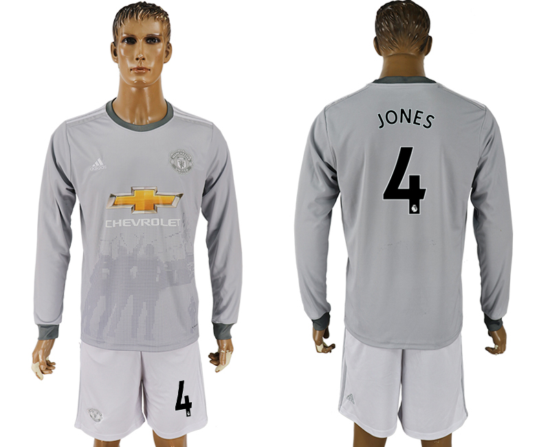 Men 2017-2018 club Manchester united away long sleeve grey 4 soccer jersey