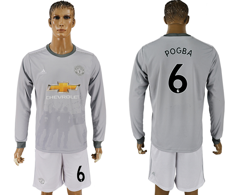 Men 2017-2018 club Manchester united away long sleeve grey 6 soccer jersey