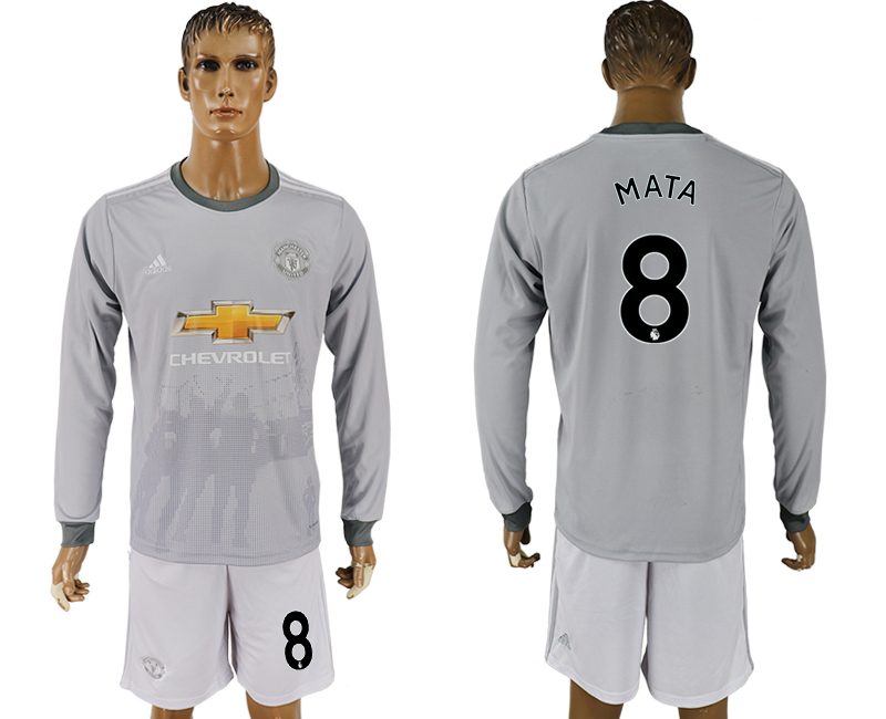 Men 2017-2018 club Manchester united away long sleeve grey 8 soccer jersey