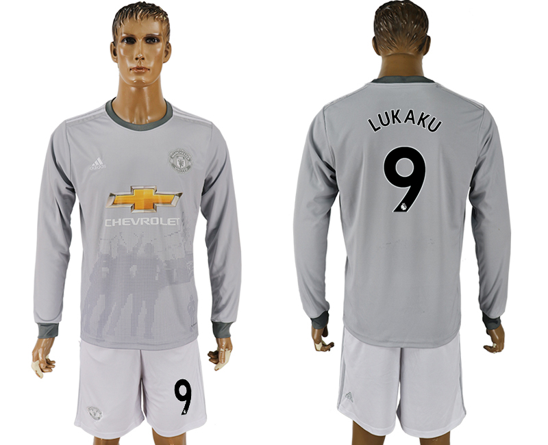 Men 2017-2018 club Manchester united away long sleeve grey 9 soccer jersey