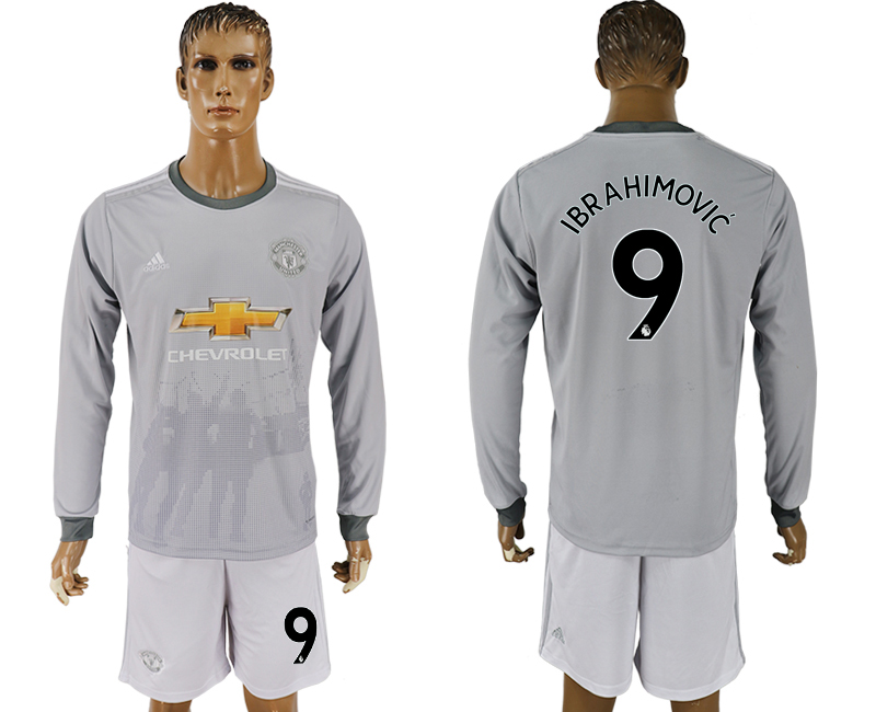 Men 2017-2018 club Manchester united away long sleeve grey 9 soccer jersey1