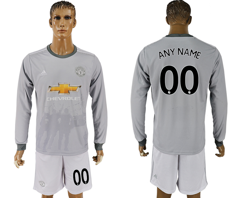 Men 2017-2018 club Manchester united away long sleeve grey customized soccer jersey