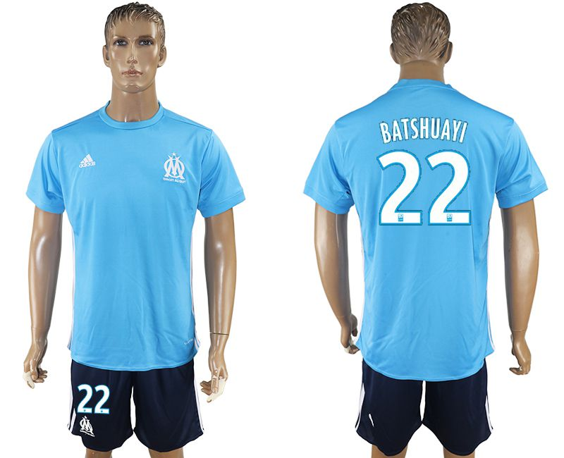 Men 2017-2018 club Marseille away 22 blue soccer jersey