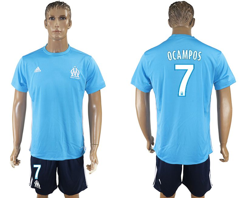 Men 2017-2018 club Marseille away 7 blue soccer jersey