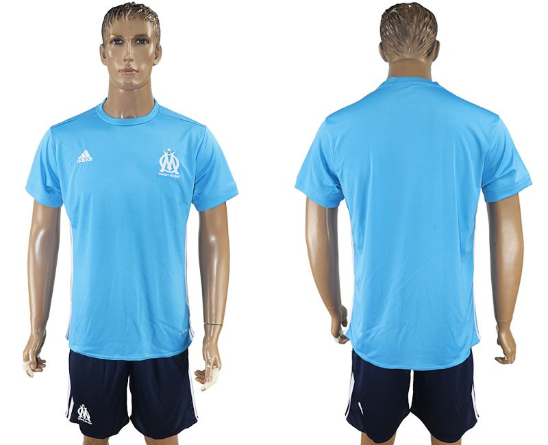 Men 2017-2018 club Marseille away blank blue soccer jersey