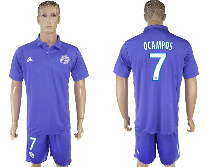 Men 2017-2018 club Marseille second away 7 purple soccer jersey