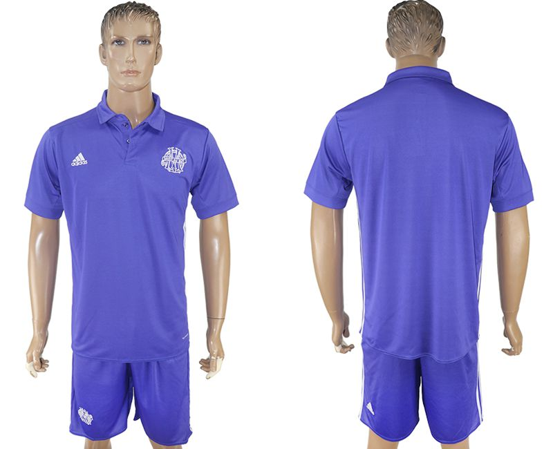 Men 2017-2018 club Marseille second away blank purple soccer jersey