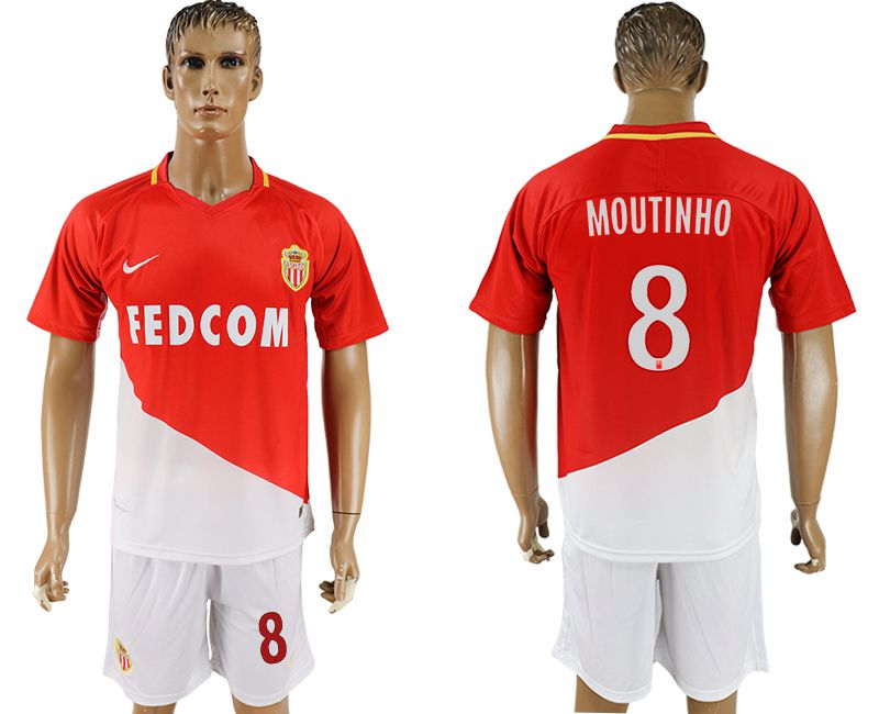 Men 2017-2018 club Monaco home 8 red soccer jersey