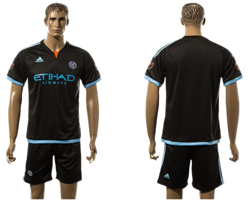 Men 2017-2018 club New York City FC away blank black soccer jersey