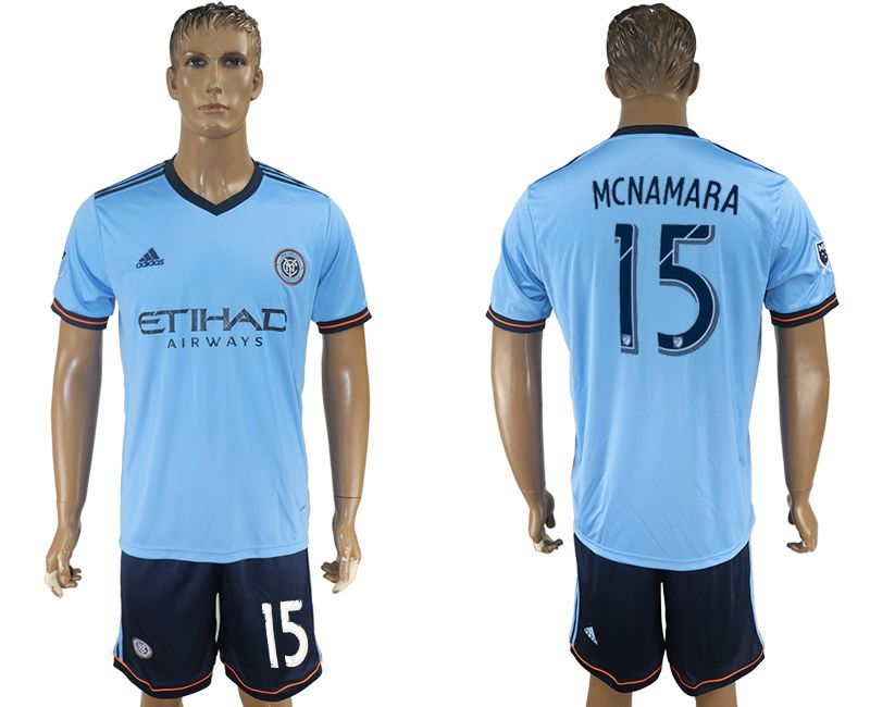 Men 2017-2018 club New York City FC home 15 blue soccer jersey