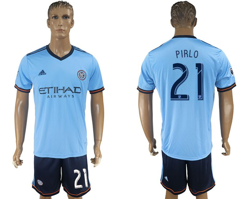Men 2017-2018 club New York City FC home 21 blue soccer jersey