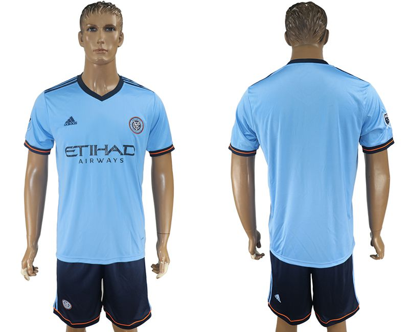 Men 2017-2018 club New York City FC home blank blue soccer jersey
