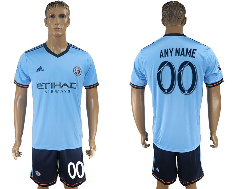 Men 2017-2018 club New York City FC home customized blue soccer jersey