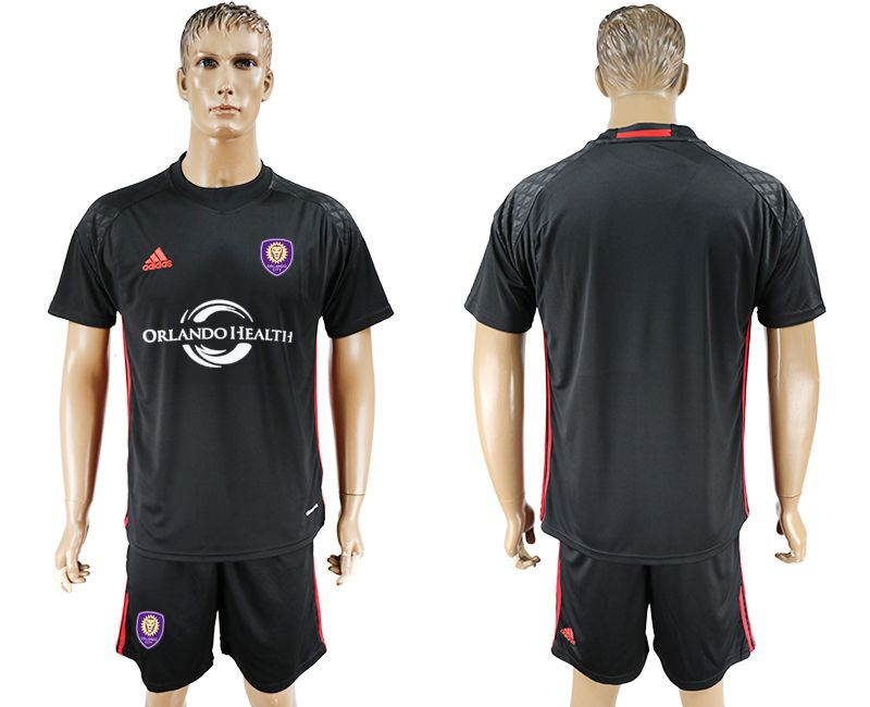 Men 2017-2018 club Orlando City goalkeeper blank black soccer jersey