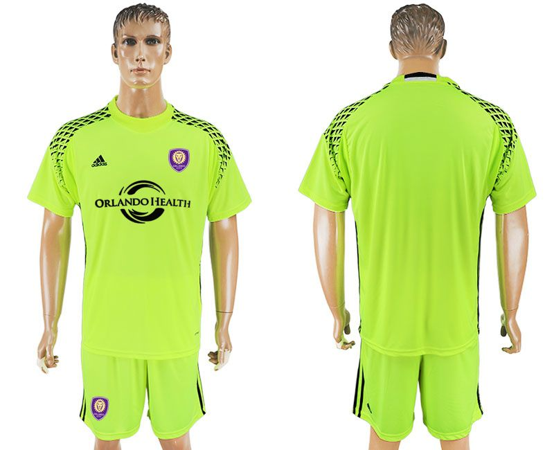 Men 2017-2018 club Orlando City goalkeeper blank fluorescent green soccer jersey