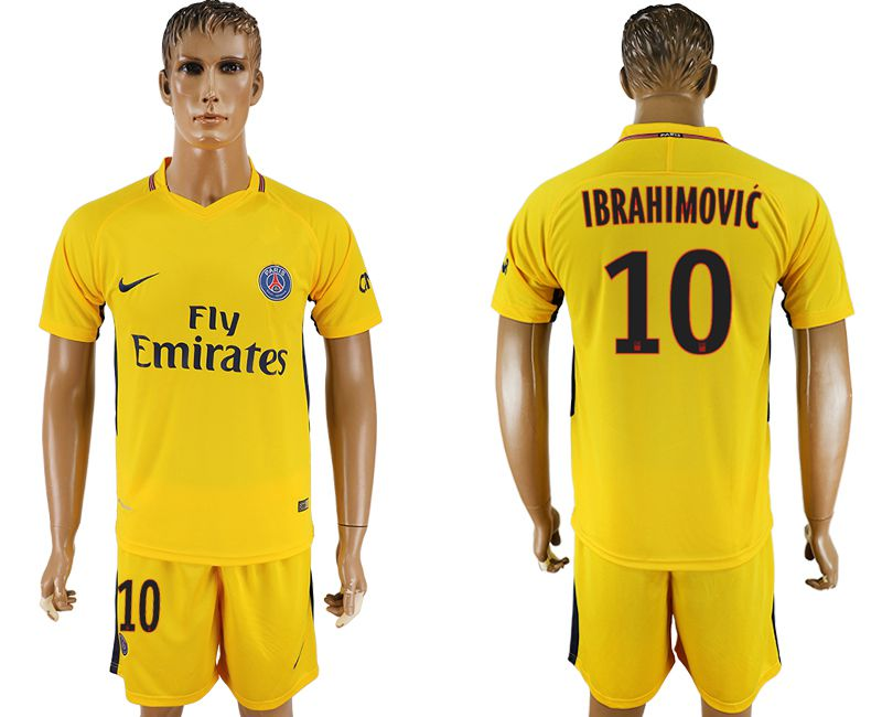 Men 2017-2018 club Paris St Germain away 10 yellow soccer jersey