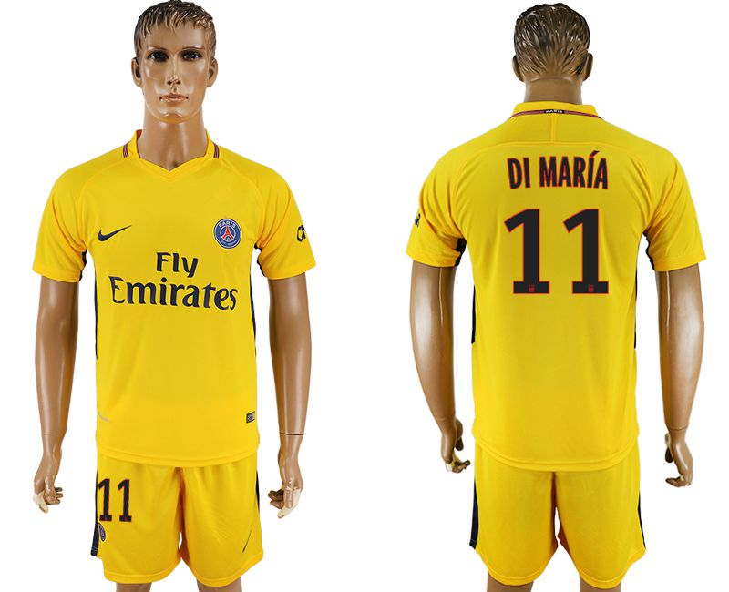 Men 2017-2018 club Paris St Germain away 11 yellow soccer jersey