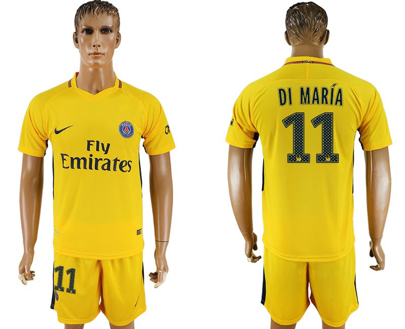 Hommes 2017-2018 club Paris St Germain loin 11 jaune football jersey1