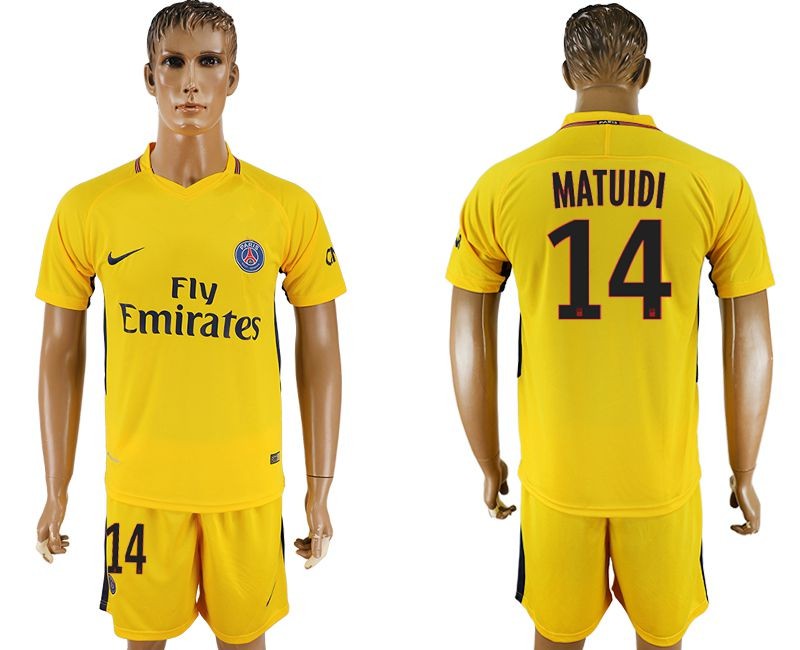 Men 2017-2018 club Paris St Germain away 14 yellow soccer jersey
