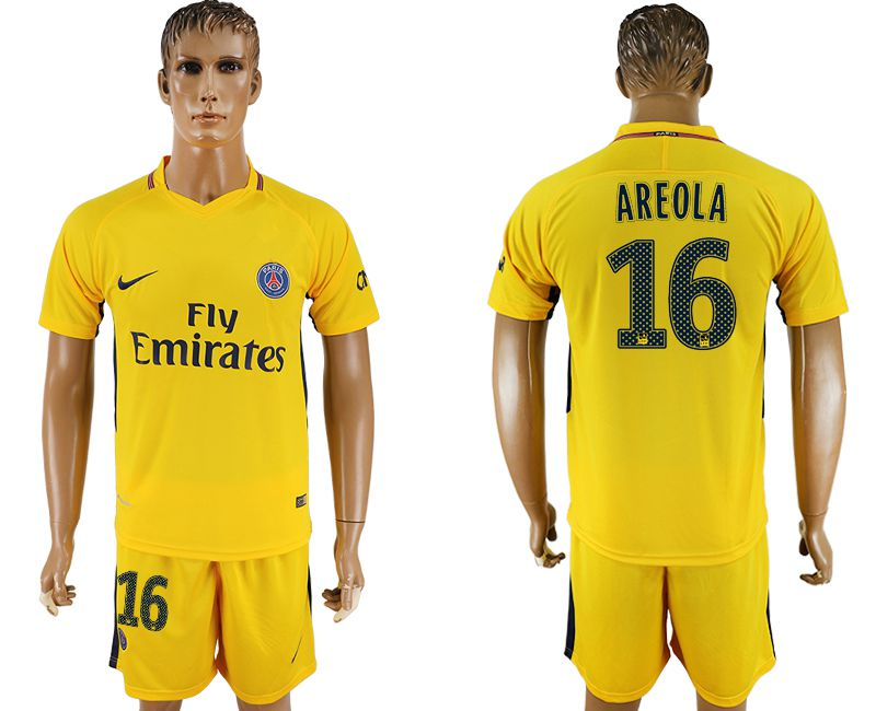 Men 2017-2018 club Paris St Germain away 16 yellow soccer jersey1