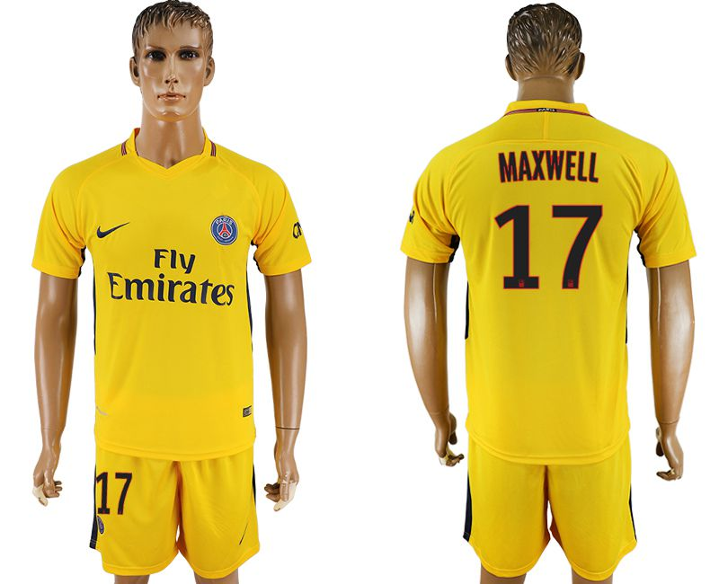 Men 2017-2018 club Paris St Germain away 17 yellow soccer jersey
