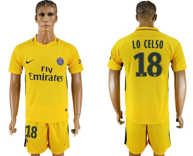 Hommes 2017-2018 club Paris St Germain loin 18 jaune football jersey1
