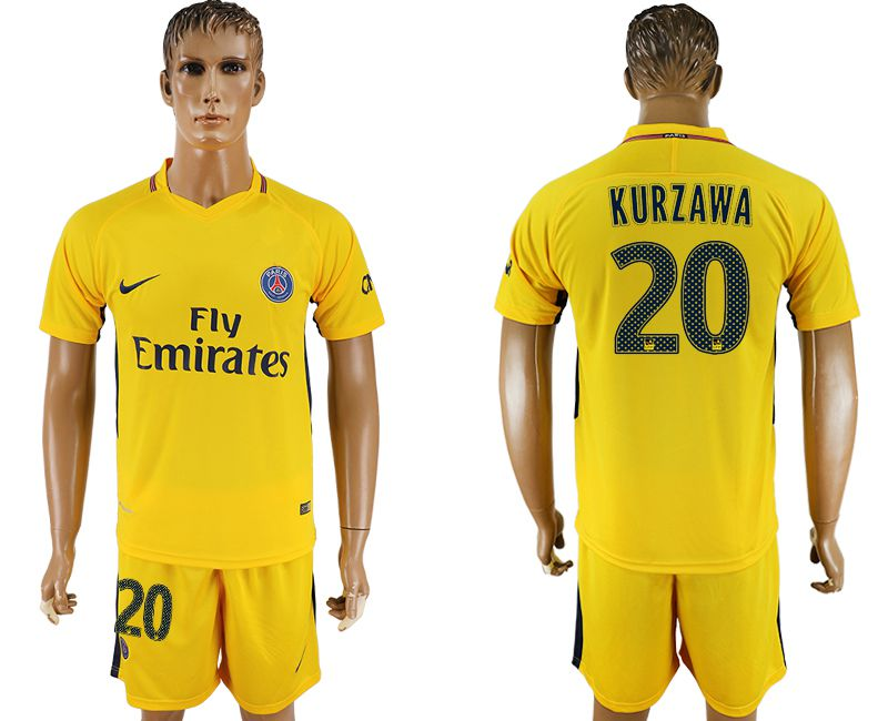 Men 2017-2018 club Paris St Germain away 20 yellow soccer jersey1