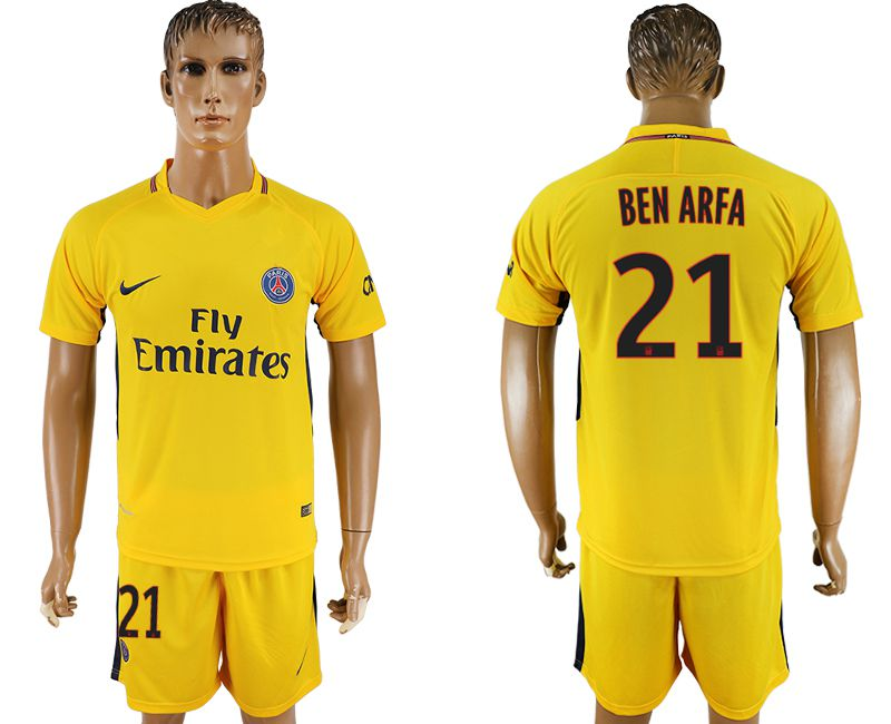 Men 2017-2018 club Paris St Germain away 21 yellow soccer jersey