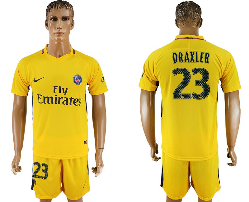 Men 2017-2018 club Paris St Germain away 23 yellow soccer jersey1