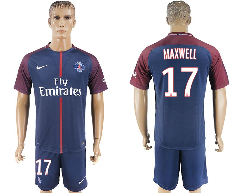 Hommes 2017-2018 club Paris St Germain domicile 17 bleu football maillot