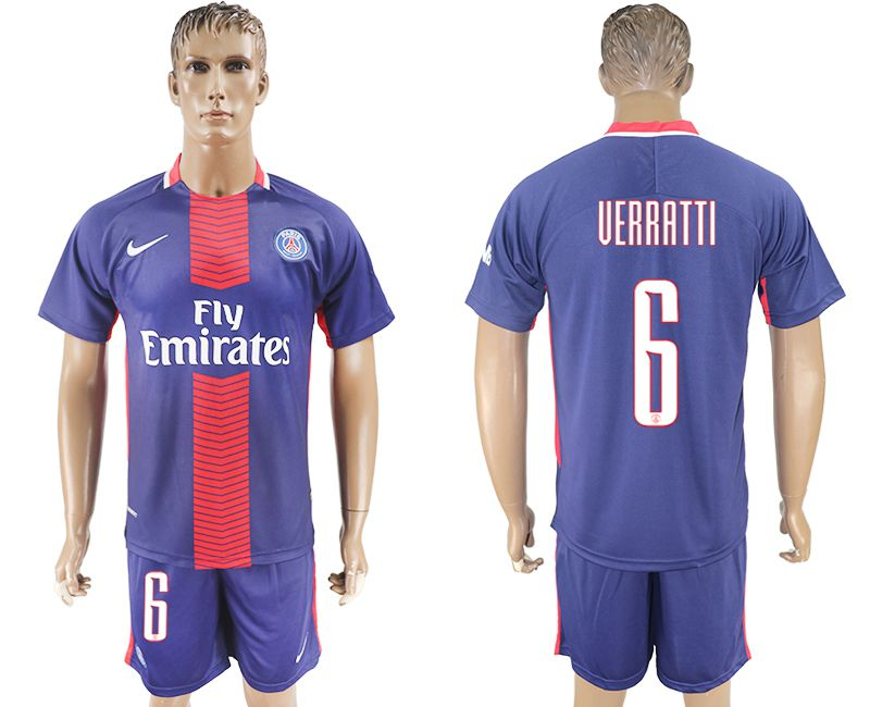 Hommes 2017-2018 club Paris St Germain domicile 6 bleu football jersey1