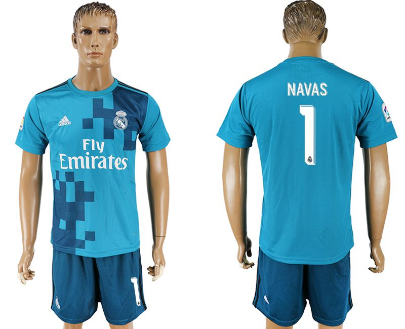 Men 2017-2018 club Real Madrid away 1 blue soccer jersey