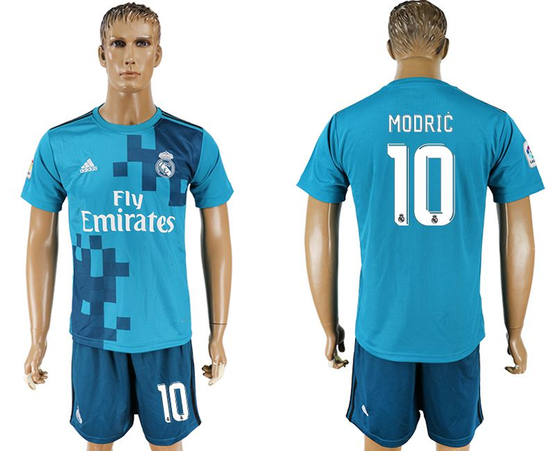 Men 2017-2018 club Real Madrid away 10 blue soccer jersey