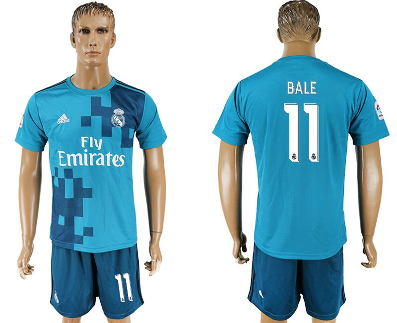 Men 2017-2018 club Real Madrid away 11 blue soccer jersey