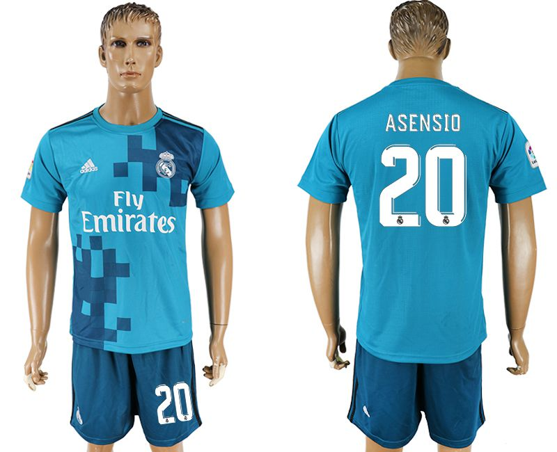 Men 2017-2018 club Real Madrid away 20 blue soccer jersey