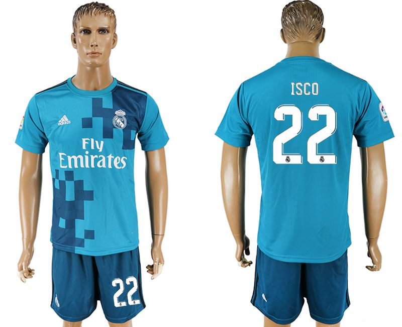 Men 2017-2018 club Real Madrid away 22 blue soccer jersey