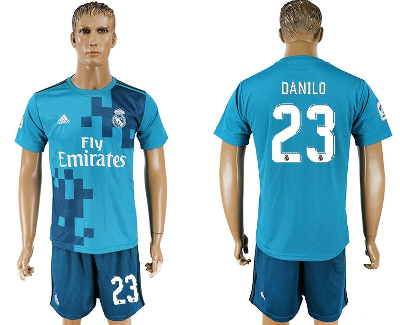 Men 2017-2018 club Real Madrid away 23 blue soccer jersey
