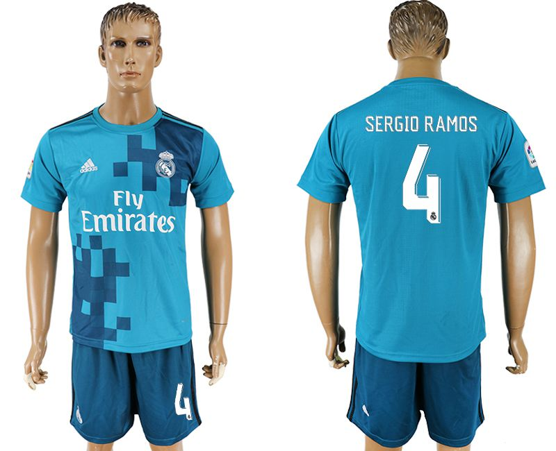 Men 2017-2018 club Real Madrid away 4 blue soccer jersey