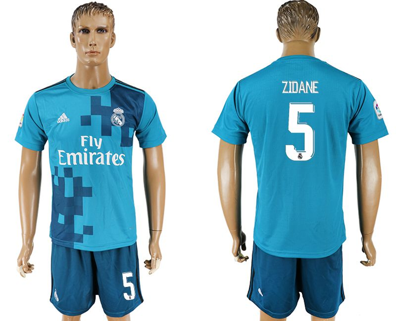 Men 2017-2018 club Real Madrid away 5 blue soccer jersey